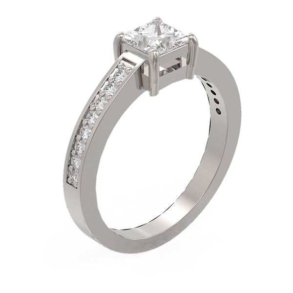 1.09 ctw Princess Diamond Ring 18K White Gold - REF-172A6N