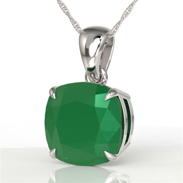 6 ctw Cushion Cut Emerald Designer Solitaire Necklace 18k White Gold - REF-49K3Y