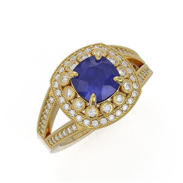2.69 ctw Certified Sapphire & Diamond Victorian Ring 14K Yellow Gold - REF-99F3M
