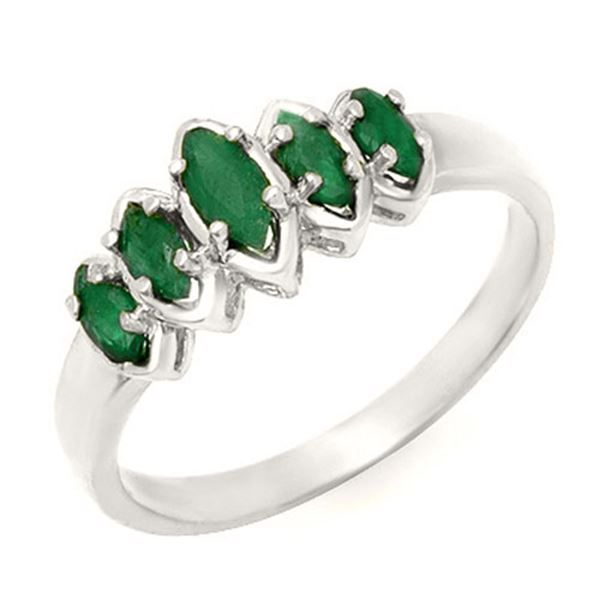 0.50 ctw Emerald Ring 18k White Gold - REF-23A8N