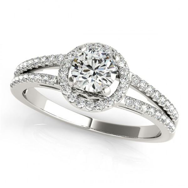 0.75 ctw Certified VS/SI Diamond Halo Ring 18k White Gold - REF-89A2N