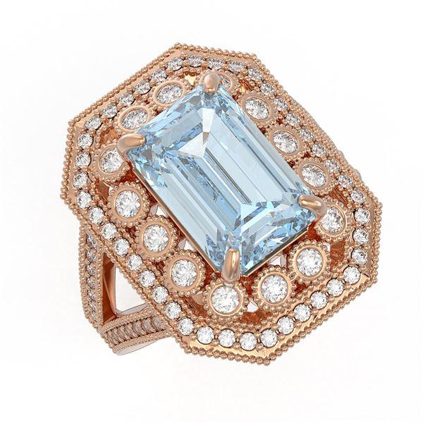 5.69 ctw Certified Aquamarine & Diamond Victorian Ring 14K Rose Gold - REF-170M9G
