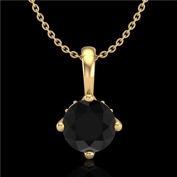 0.82 ctw Fancy Black Diamond Art Deco Stud Necklace 18k Yellow Gold - REF-32M8G