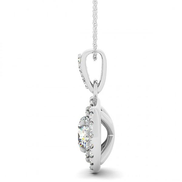 0.6 ctw Certified SI Diamond Halo Necklace 14k White Gold - REF-47A3N