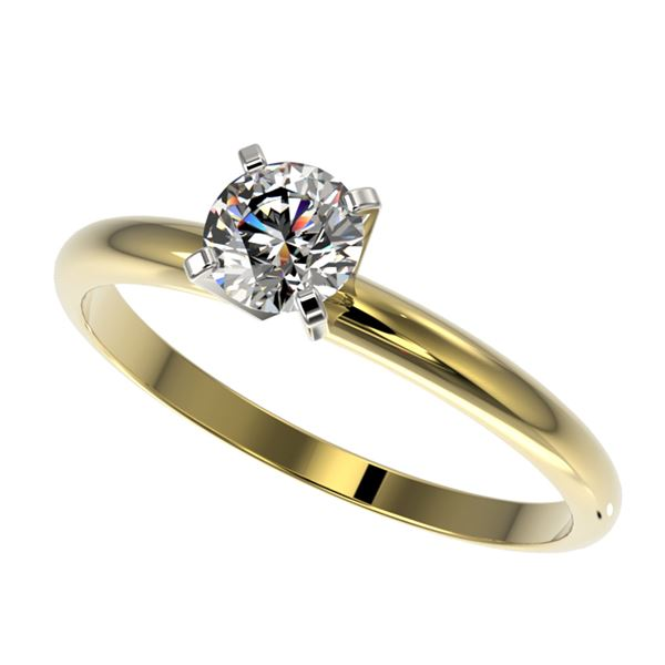 0.54 ctw Certified Quality Diamond Engagment Ring 10k Yellow Gold - REF-40M8G