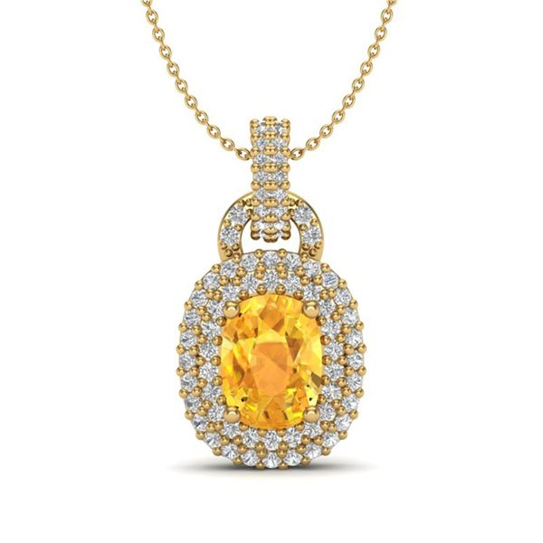 2.50 ctw Citrine & Micro VS/SI Diamond Necklace Halo 14k Yellow Gold - REF-52A8N