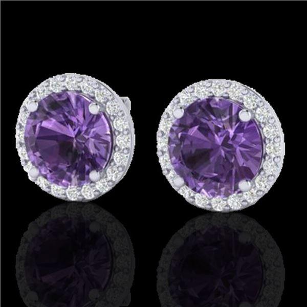 4 ctw Amethyst & Halo VS/SI Diamond Micro Pave Earrings 18k White Gold - REF-51K2Y