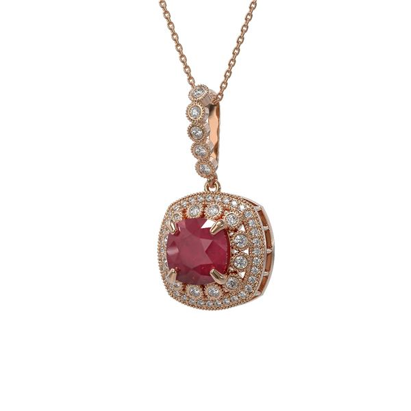 6.58 ctw Certified Ruby & Diamond Victorian Necklace 14K Rose Gold - REF-209M3G