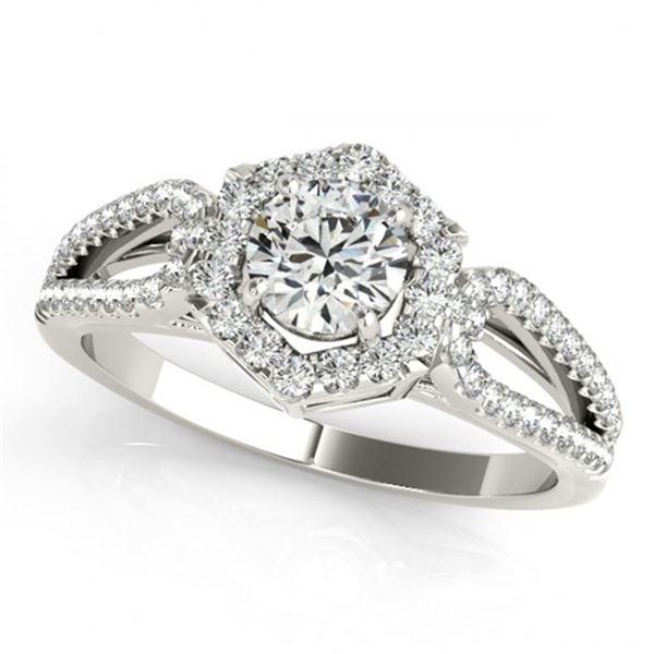 0.9 ctw Certified VS/SI Diamond Halo Ring 18k White Gold - REF-102X8A