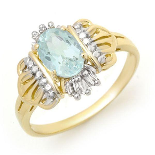 1.05 ctw Aquamarine & Diamond Ring 10k Yellow Gold - REF-15G3W