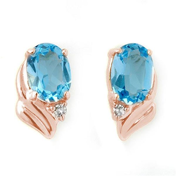 1.23 ctw Blue Topaz & Diamond Earrings 14k Rose Gold - REF-12A3N