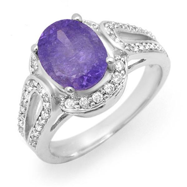 3.50 ctw Tanzanite & Diamond Ring 10k White Gold - REF-80R9K