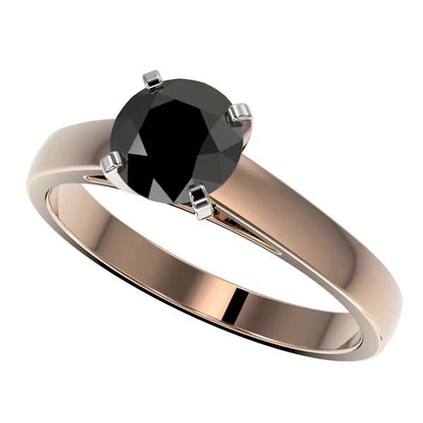 1.25 ctw Fancy Black Diamond Solitaire Engagment Ring 10k Rose Gold - REF-26N6F