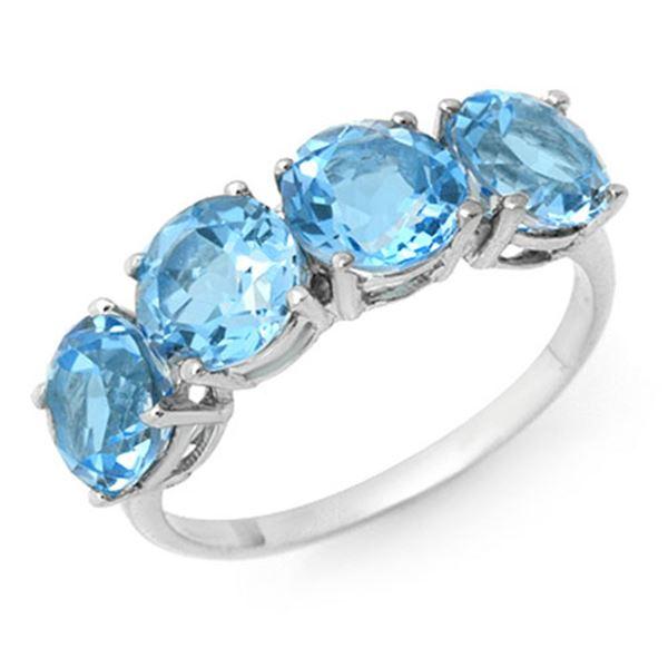 3.66 ctw Blue Topaz Ring 18k White Gold - REF-25H4R