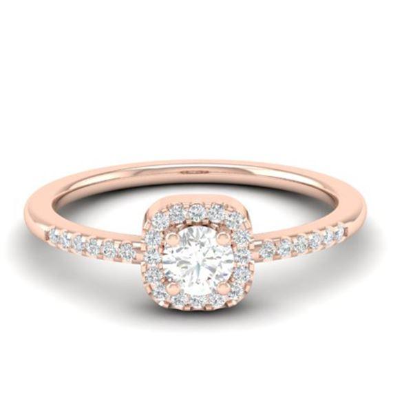 0.45 ctw Micro Pave VS/SI Diamond Ring Designer Halo 14k Rose Gold - REF-39R5K
