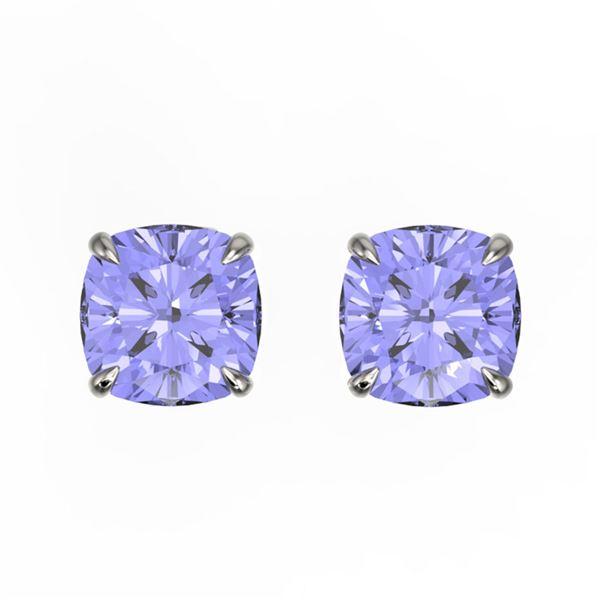 4 ctw Cushion Cut Tanzanite Designer Stud Earrings 18k White Gold - REF-40X9A