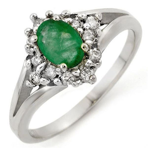 0.85 ctw Emerald & Diamond Ring 18k White Gold - REF-32W6H