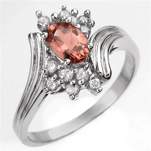 0.80 ctw Pink Tourmaline & Diamond Ring 10k White Gold - REF-23G9W