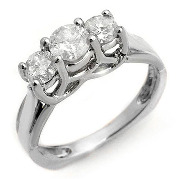 1.35 ctw Certified VS/SI Diamond Ring 14k White Gold - REF-162G4W