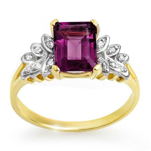 1.52 ctw Amethyst & Diamond Ring 10k Yellow Gold - REF-14W3H