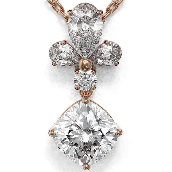 1.4 ctw Cushion Cut Diamond Designer Necklace 18K Rose Gold - REF-181X2A