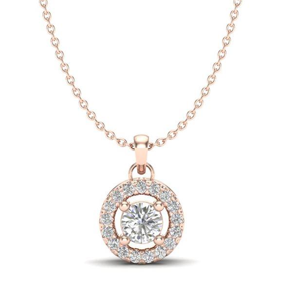 0.33 ctw VS/SI Diamond Micro Pave Necklace Halo 14k Rose Gold - REF-30G2W