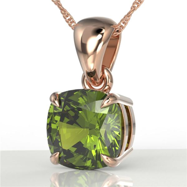 2 ctw Cushion Cut Green Tourmaline Designer Necklace 14k Rose Gold - REF-30H2R
