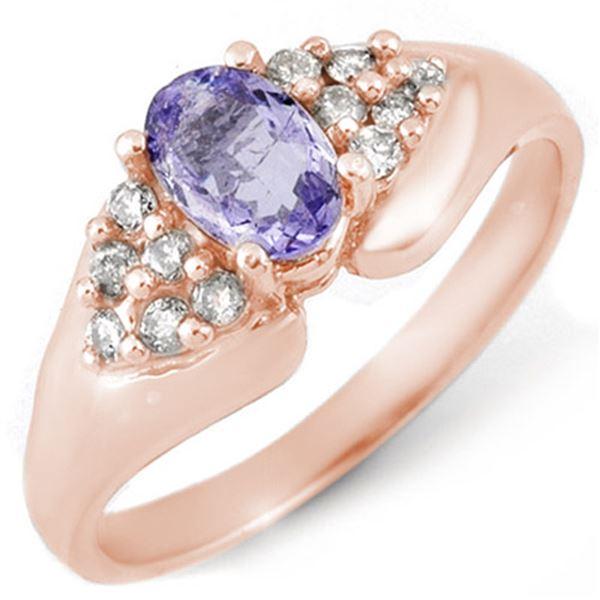 0.90 ctw Tanzanite & Diamond Ring 14k Rose Gold - REF-31X4A
