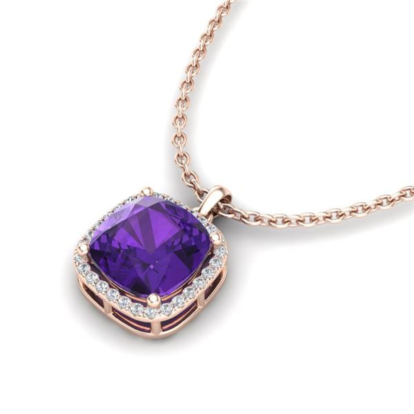 6 ctw Amethyst & Micro Pave VS/SI Diamond Necklace 14k Rose Gold - REF-39R5K
