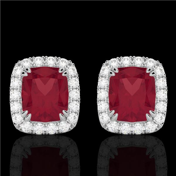 2.50 ctw Ruby & Micro Pave VS/SI Diamond Certified Earrings 10k White Gold - REF-38Y2X