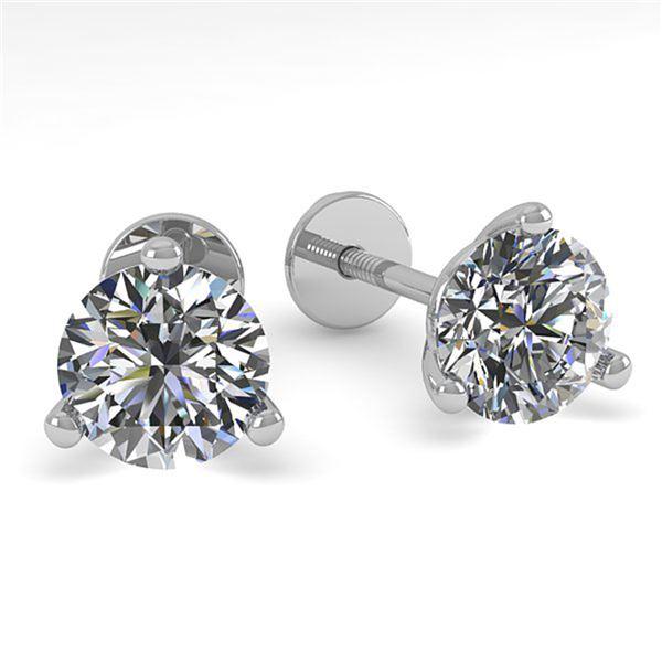 0.50 ctw Certified VS/SI Diamond Stud Earrings Martini 14k White Gold - REF-44K4Y