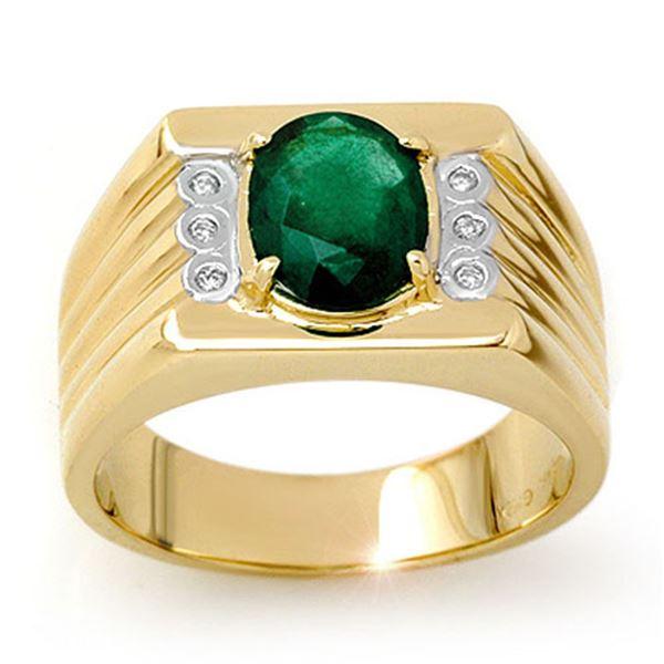 2.06 ctw Emerald & Diamond Men's Ring 10k Yellow Gold - REF-40Y9X