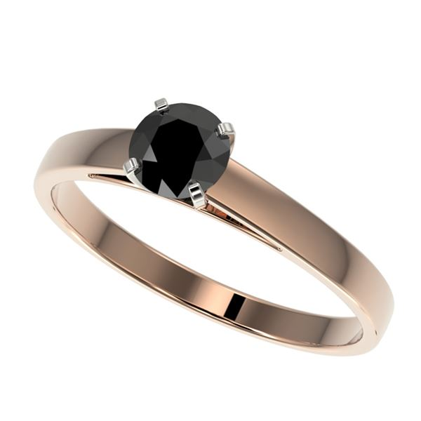 0.50 ctw Fancy Black Diamond Solitaire Engagment Ring 10k Rose Gold - REF-15H6R