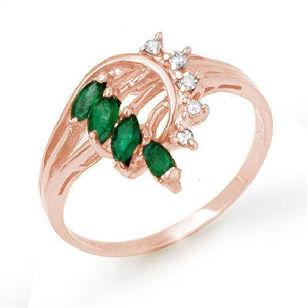 0.55 ctw Emerald & Diamond Ring 14k Rose Gold - REF-18W4H