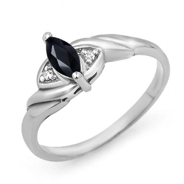 0.26 ctw Blue Sapphire & Diamond Ring 10k White Gold - REF-9M8G