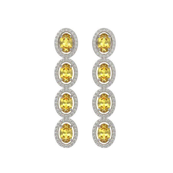 5.4 ctw Fancy Citrine & Diamond Micro Pave Halo Earrings 10k White Gold - REF-143G6W