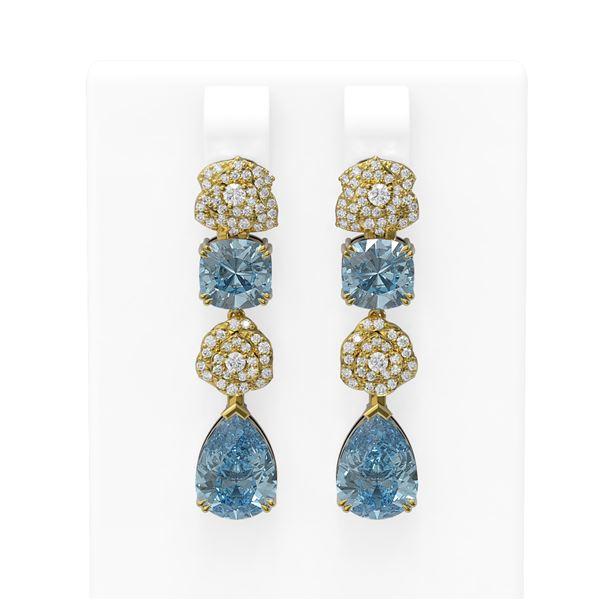 9.7 ctw Blue Topaz & Diamond Earrings 18K Yellow Gold - REF-178F5M
