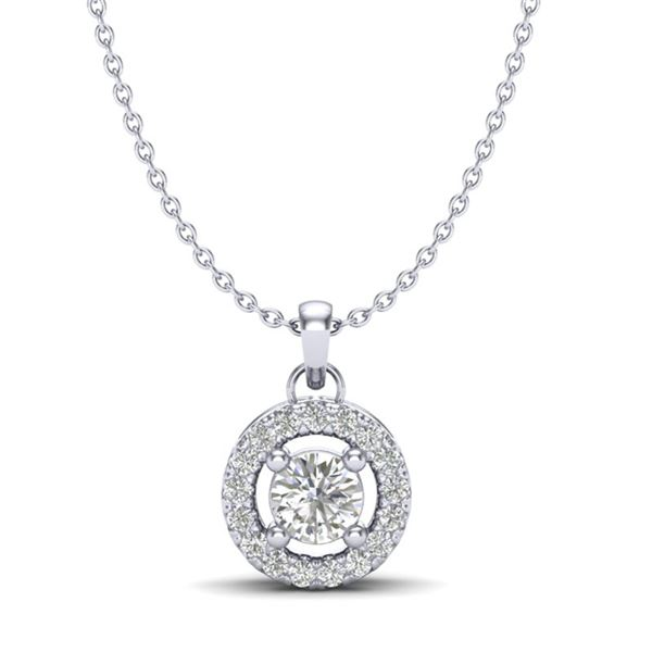 0.33 ctw VS/SI Diamond Micro Pave Necklace Halo 18k White Gold - REF-29K3Y