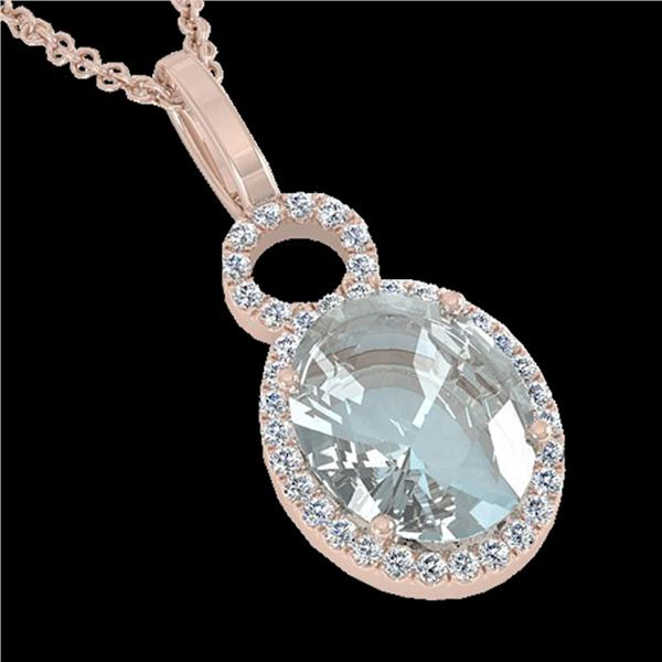 3 ctw Aquamarine & Micro Pave VS/SI Diamond Necklace 14k Rose Gold - REF-47H9R