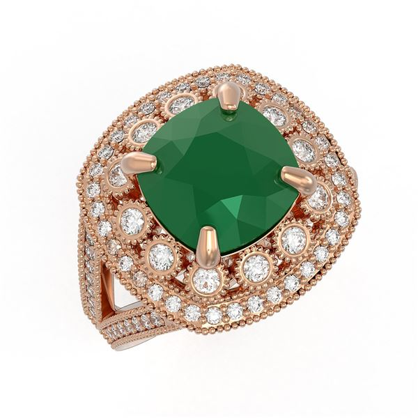 6.47 ctw Certified Emerald & Diamond Victorian Ring 14K Rose Gold - REF-178A2N