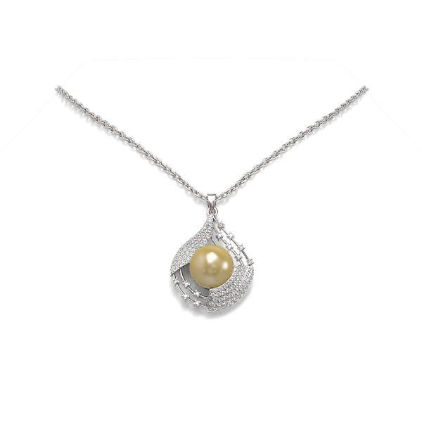 1.15 ctw Diamond & Pearl Necklace 18K White Gold - REF-164G8W