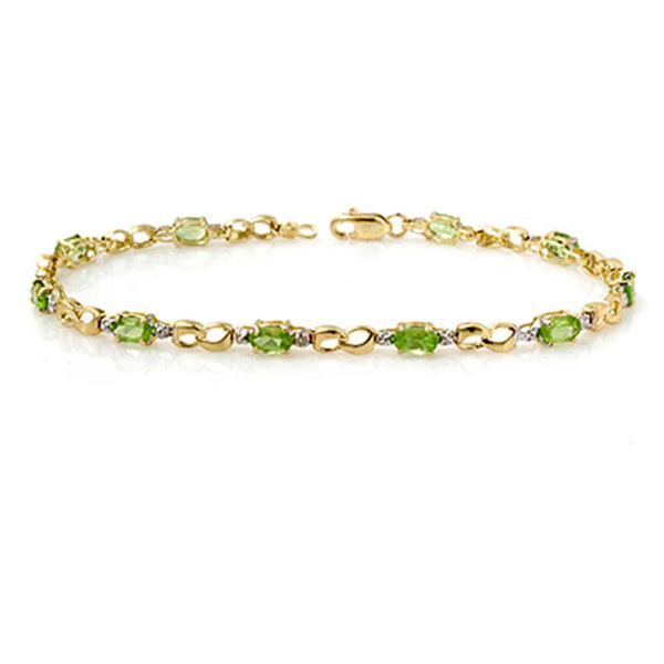 2.26 ctw Peridot & Diamond Bracelet 10k Yellow Gold - REF-19Y4X