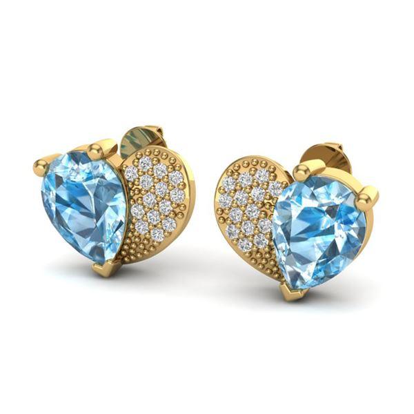 2.50 ctw Sky Blue Topaz & Micro Pave VS/SI Diamond Earrings 10k Yellow Gold - REF-22A5N
