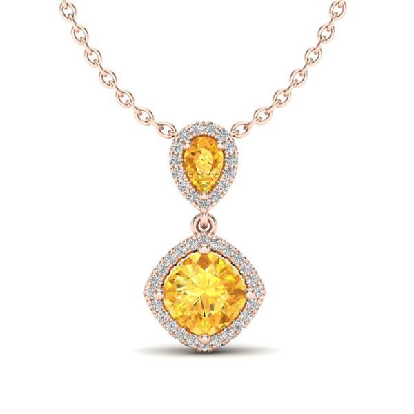 2.63 ctw Citrine & Micro VS/SI Diamond Necklace Designer 10k Rose Gold - REF-36M6G