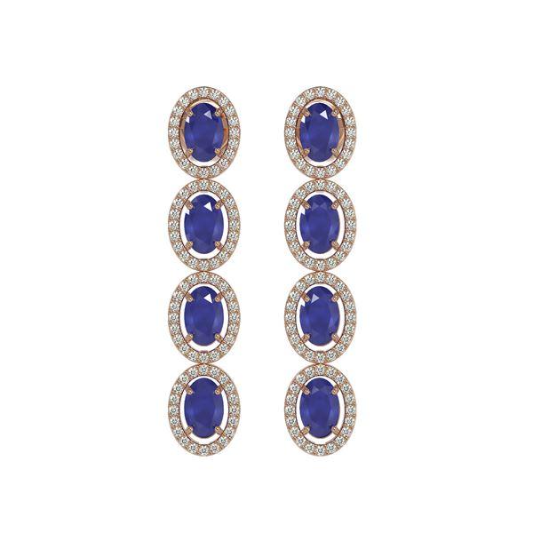 6.47 ctw Sapphire & Diamond Micro Pave Halo Earrings 10k Rose Gold - REF-143Y6X