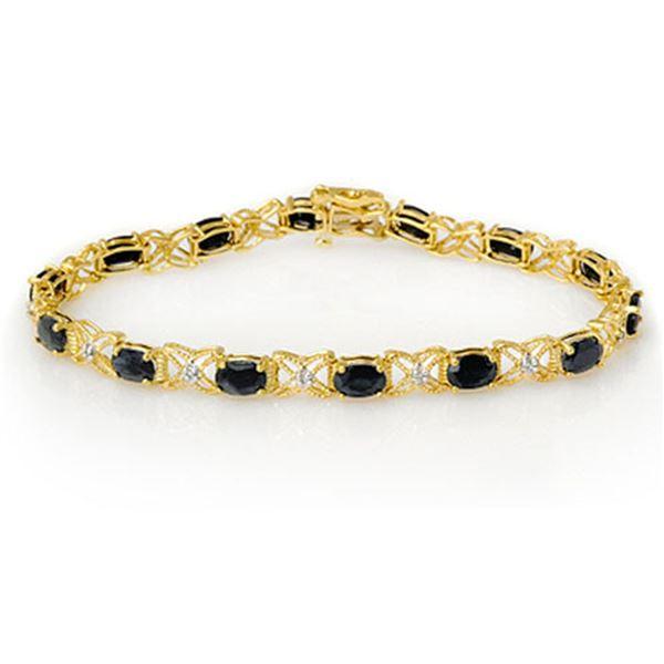 10.81 ctw Blue Sapphire & Diamond Bracelet 14k Yellow Gold - REF-109N3F