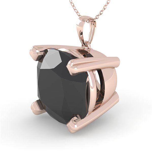 6.0 ctw Cushion Black Diamond Designer Necklace 14k Rose Gold - REF-108N3F