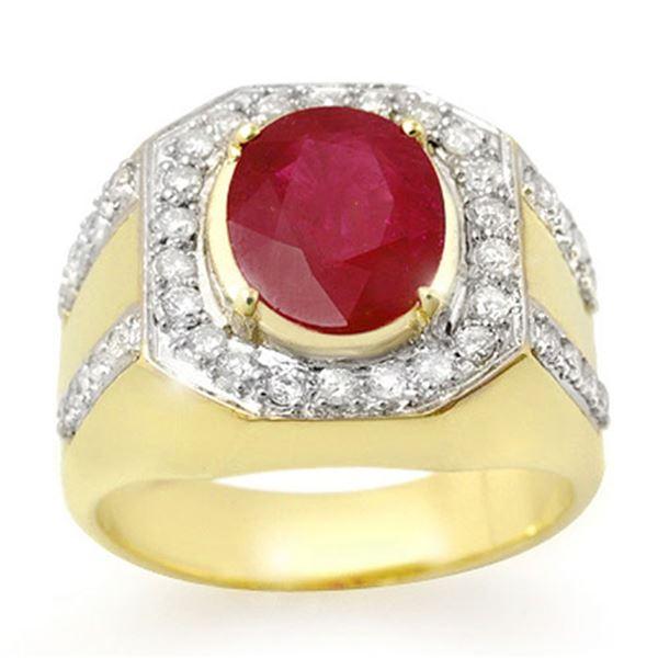 4.75 ctw Ruby & Diamond Men's Ring 10k Yellow Gold - REF-123R6K