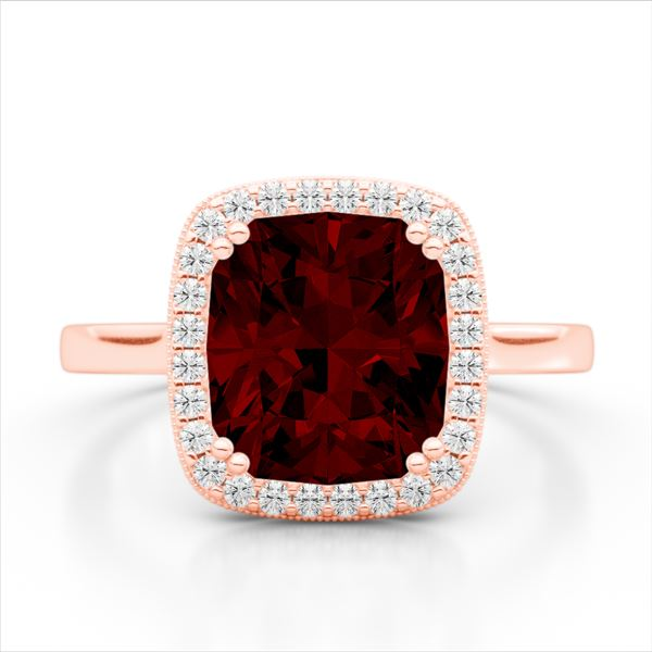 3 ctw Garnet & Micro Pave VS/SI Diamond Certified Ring 14k Rose Gold - REF-32K8Y