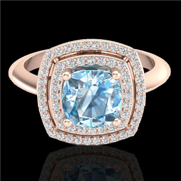 2.02 ctw Sky Blue Topaz & Micro VS/SI Diamond Ring 14k Rose Gold - REF-46Y5X
